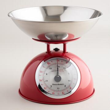 Red Vintage-Style Metal Kitchen Scale