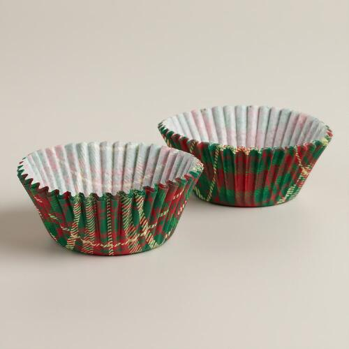 Holiday Plaid Cupcake Liners, 50-Count