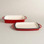 Red Square Cast Iron Casserole Baker with Griddle Lid