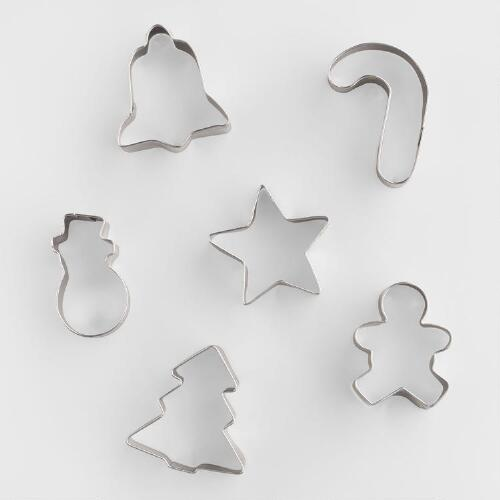 Mini Holiday Metal Cookie Cutters, 6-Pack