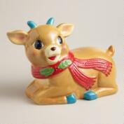 Vintage-Style Holiday Deer Ceramic Cookie Jar