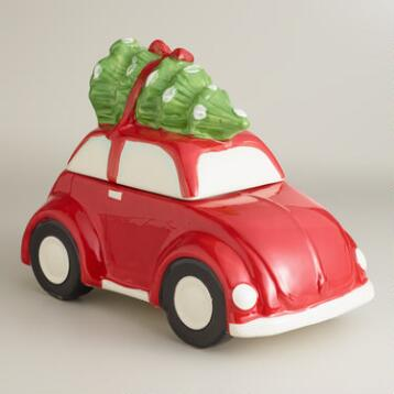 Red Car with Holiday Tree Cookie Jar