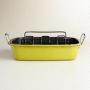 Cress Green Enamel-on-Steel Roaster with Rack