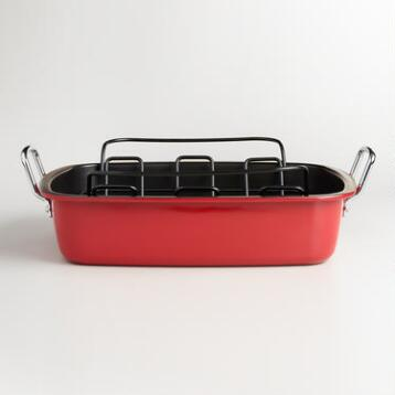 Red Enamel-on-Steel Roaster with Rack
