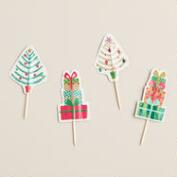Mistletoe Holiday Cupcake Toppers, 12-Count