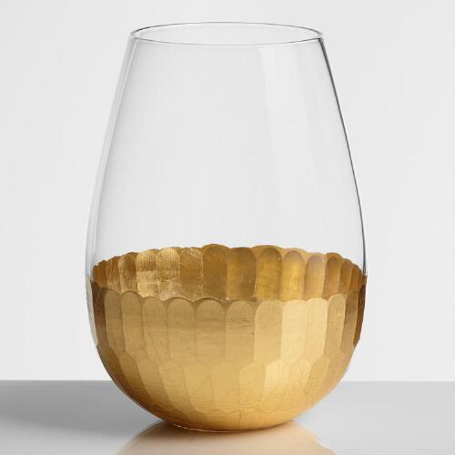 Gold Stemless Wine Glasses, Set of 4