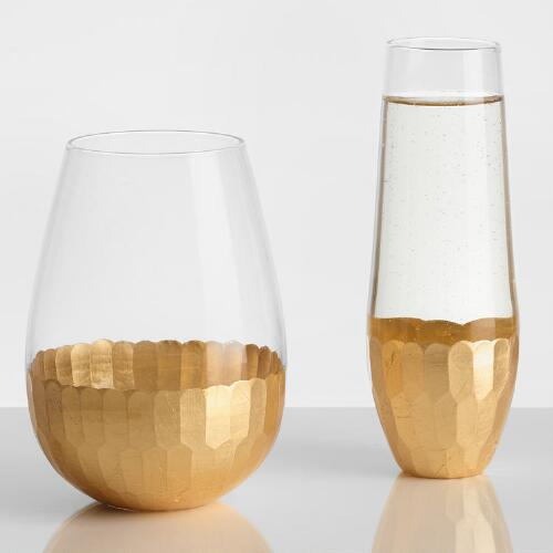 Gold Stemless Glassware Collection