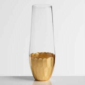 Stemless Gold Champagne Flutes, Set of 4