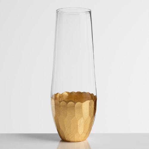 Gold Stemless Champagne Flutes Set of 4