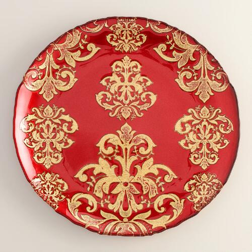 Red Buon Natale Glass Serving Platter