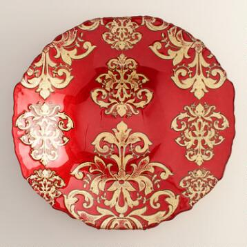 Red Buon Natale Glass Serving Bowl