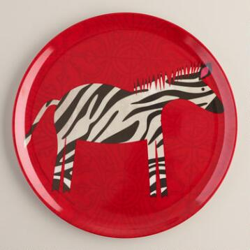 Melamine Zebra Plate, Set of 4