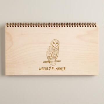 Owl Wood Cover Weekly Planner