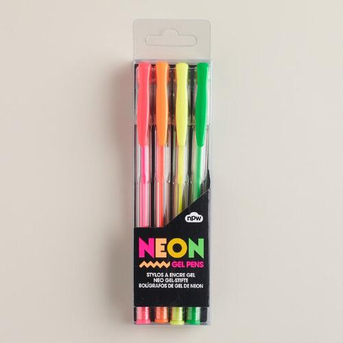 Neon Gel Pens, Set of 4