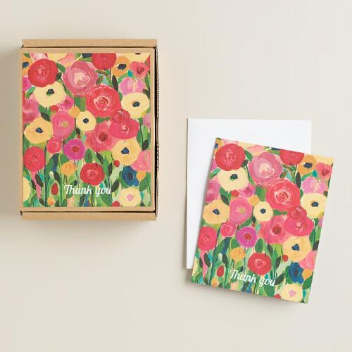 Floral Thank You Notecards, Set of 16