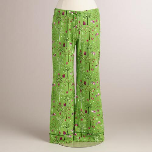 Green Winter Trees Pajama Pants