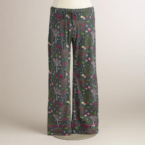 Gray Winter Trees Pajama Pants