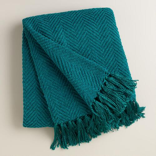 Blue Chunky Chenille Throw with Tassels