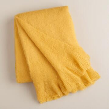 Yellow Faux Mohair Throw