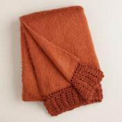 Rust Crochet Faux Mohair Throw