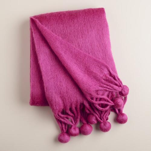 Fuchsia Pom-Pom Faux Mohair Throw