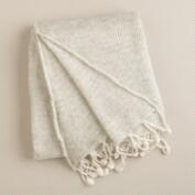White Pom-Pom Luxe Knit Throw