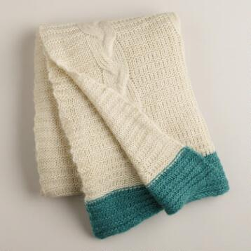 Ivory Luxe Knit Throw with Teal Border