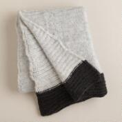 Gray Luxe Knit Throw with Black Border