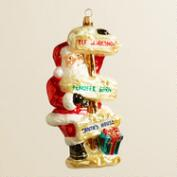 European Glass Road Sign Santa Ornament