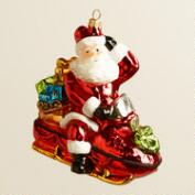 European Glass Snowmobile Santa Ornament