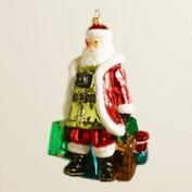European Glass Traveling Santa Ornament