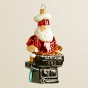 European Glass BBQ Santa Ornament