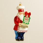 European Glass Chef Santa Ornament