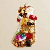 European Glass Star Santa Ornament