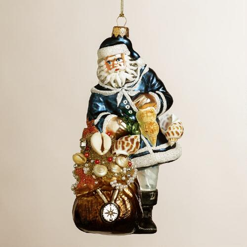 European Glass Sailor Santa Ornament