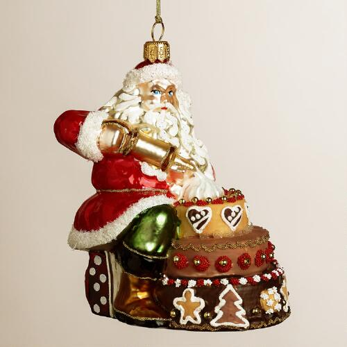 European Glass Cake Making Santa Ornament