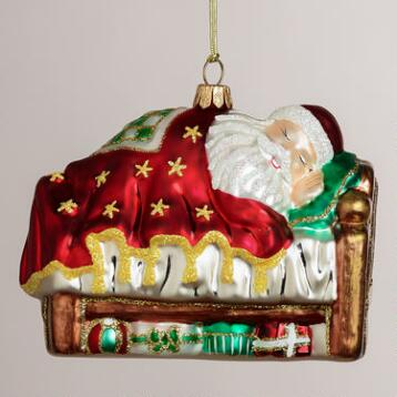 European Glass Napping Santa Ornament