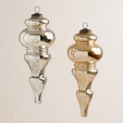 Silver and Gold Finial Mercury Glass Ornaments, Set of 2
