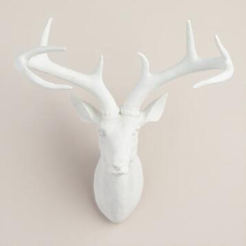 Matte White Stag Head Sculpture