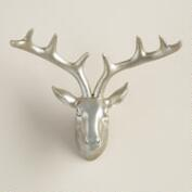 Silver Stag Head Sculpture