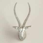 Silver Springbok Head Sculpture