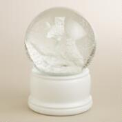 Glass Owl Snow Globe on White Base
