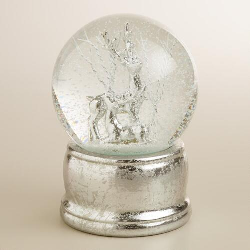 Glass Deer Snow Globe on Sliver Base