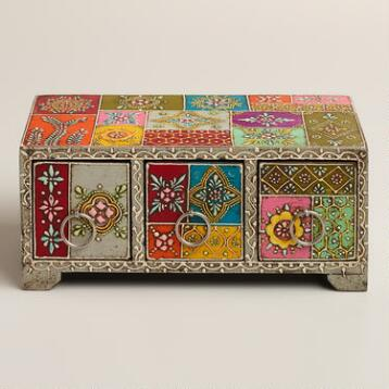 Multicolor Hand-Painted Wood Box