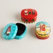 Hand-Painted Paper Mache Holiday Boxes, Set of 3