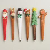 Hand-Carved Wood Holiday Pens, Set of 6