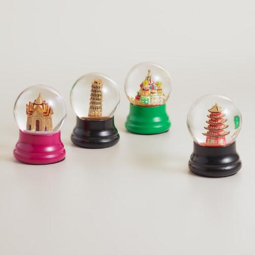 Mini World Landmarks Snow Globes, Set of 4