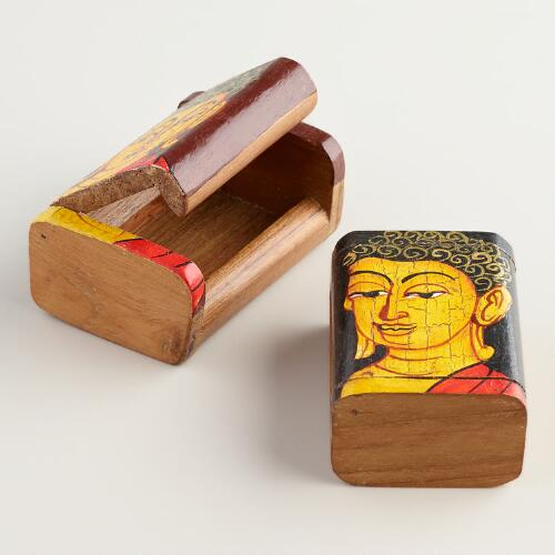 Hand-Painted Wood Buddha Boxes, Set of 2