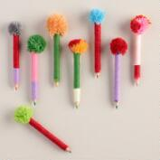 Colored Pencils with Pom Poms, 8-Pack