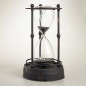 Distressed Metal Hourglass with Black Sand